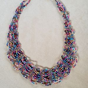 Statement Necklace with Multi-Color Beads